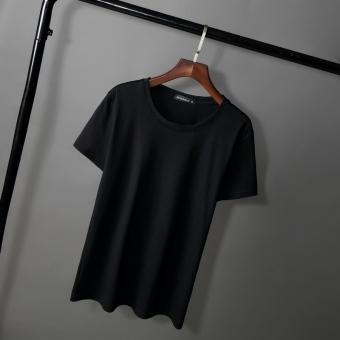 Kaus Katun Elastis Warna Polos Ukuran Besar Kerah Bulat