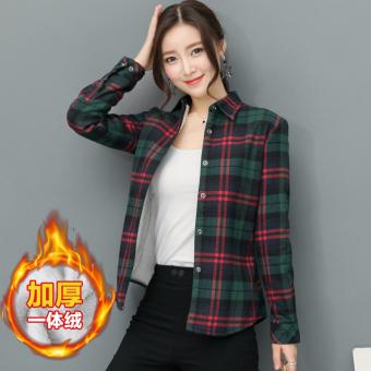 LOOESN Korea Fashion Style ditambah beludru perempuan tebal kemeja kotak-kotak yang hangat baju kemeja