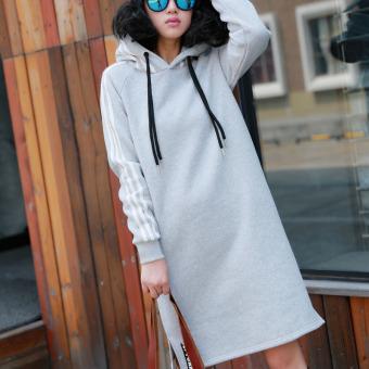 Kaos Sweater Hoodie Korea Modis Gaya Baru Wanita Musim Semi atau Musim Gugur (Abu-
