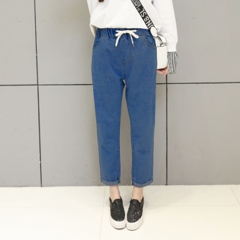 LOOESN Korean-style New style autumn student jeans (Warna solid 953 gelap)