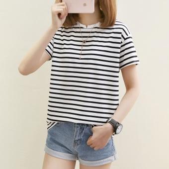 LOOESN Korean-style women's striped Top versatile short sleeved t-shirt (559 *