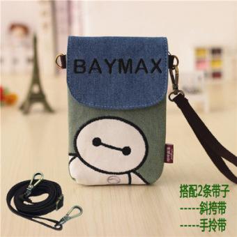 Lucu halter mini kecil tas wanita bahu Messenger Bag (Biru dan hijau besar putih)