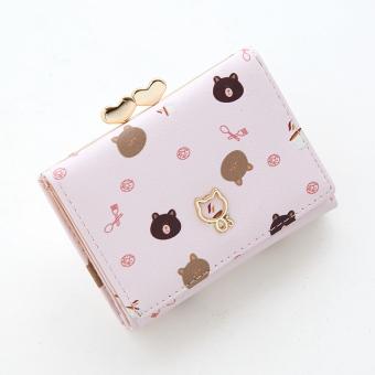 Lucu perempuan siswa kartun dicetak kecil nol dompet yang baru dompet (Merah muda)