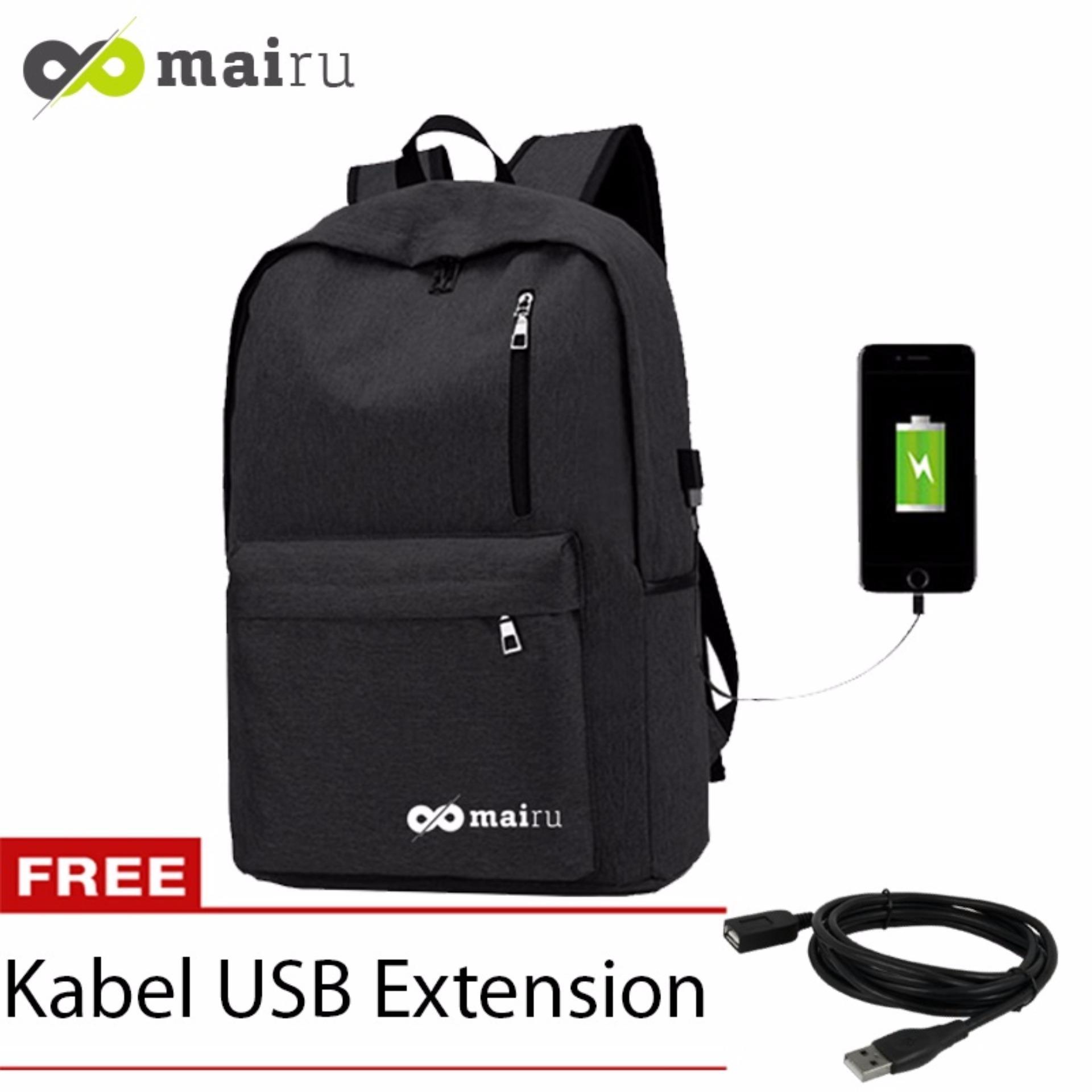 mairu tas ransel laptop backpack support usb port charger anti air 1711 – black