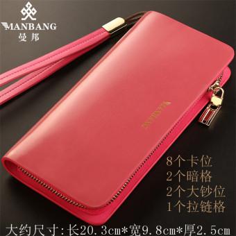 Manbang Dompet Merah Muda Dompet Korea Fashion Style Kulit Perempuan (MBS6072FH Merah Muda Tas Wanita