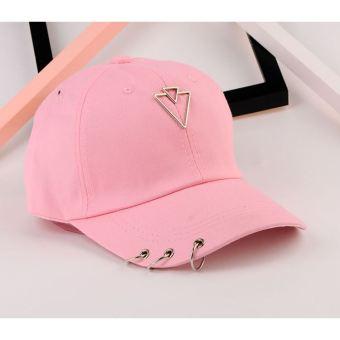 Masuknya orang kasual perempuan liontin topi baseball cap topi (Ganda segitiga merah muda)