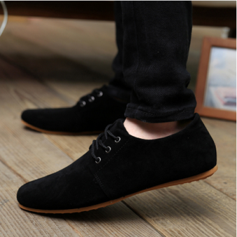 Men Casual Suede Lembut LACE UP Loafers Sneakers Sport Shoes (. Hitam)