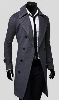 Pria Trench Mantel Musim Dingin Jaket Ganda Bagian Dada Mantel (Abu-abu Gelap)