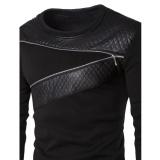 Pria Musim Dingin Hangat Splicing Kulit Sweatshirt Sweter Jaket Mantel Pakaian Bersepeda-Internasional - 4