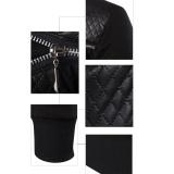 Pria Musim Dingin Hangat Splicing Kulit Sweatshirt Sweter Jaket Mantel Pakaian Bersepeda-Internasional - 5