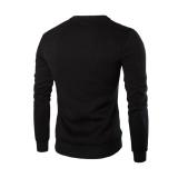 Pria Musim Dingin Hangat Splicing Kulit Sweatshirt Sweter Jaket Mantel Pakaian Bersepeda-Internasional - 3