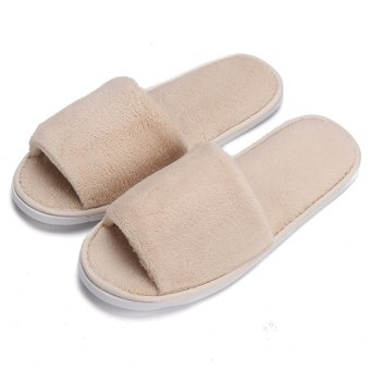 Men Women Coral Velvet Open Toe Hotel Home Spa Slippers Travel Shoes Thick 7mm Beige -