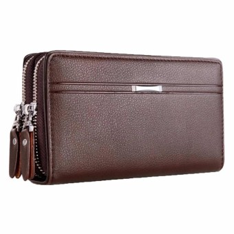 Men Zipper Synthetic Leather Clutch Phone Bag Purse Wallet Card Holder Handbag - intl
