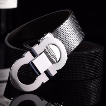 Men's High Quality Leather Belt Smooth Buckle Belt 35mm Length up to 125cm-black+