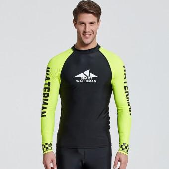 Baju Renang Pria Panjang Lengan Rash Menjaga Kemeja untuk Berselancar/ Menyelam/Snorkeling/Kayak