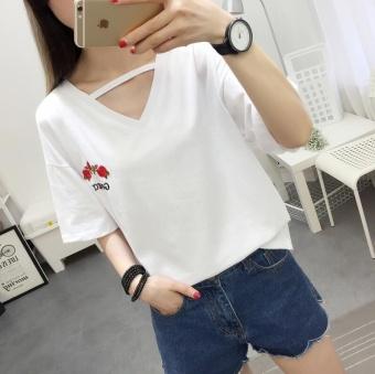 Mengqifu Kaos Wanita Model Longgar Bordir Bunga Kerah V Lengan Pendek Warna Putih/Hitam (