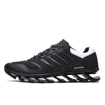 Tengkorak Pria Keren Modis Sepatu Semi Bilah Papan Loncat Lari Sepatu Kets ( Hitam) (