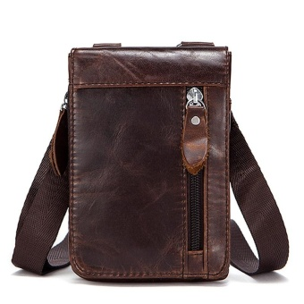 Mes Genuine Leather Leisure Small Satchel Bag Funny Waist Pack for Men(Coffee) -