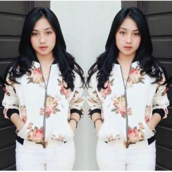 MichelleStore Jacket Wanita Bomber Arissa White