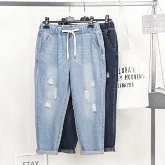 LOOESN baru Celana Perempuan ukuran celana jeans besar (Biru tua)