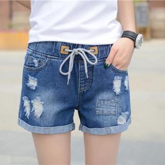 MM Korea Fashion Style Perempuan Yard Besar Siswa Celana Pendek Liar Celana Pendek Denim (Biru