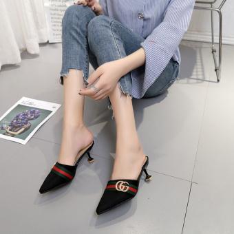 Modis Hak Tipis With Pointed untuk Sepatu Wanita Sendal (Hitam Ganda Model G)