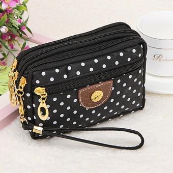Perempuan 4 Moonar Fashion Ritsleting Kecil Cute Polka Pola Kain Kain Dompet  Koin Uang Kunci Handbag 9de52927c5