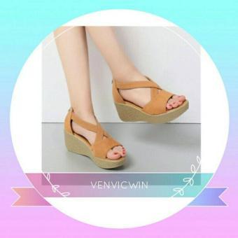 Murah Meriah Sandal Wedges LS 02 Tan