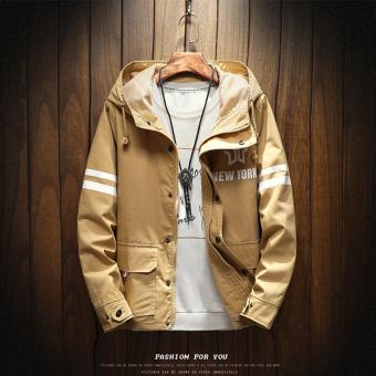 Musim Gugur Dan Musim Dingin Korea Fashion Style Hoodie Pria Jaket ([H16 Coklat Muda