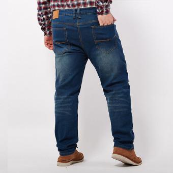 Longgar Ukuran Plus Keelastikan Celana Pendek Musim Panas Celana Pendek Denim (Biru Tua Warna)