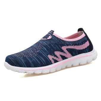 Musim panas bawah lembut bernapas jala sepatu (2588 model perempuan biru tua bedak)