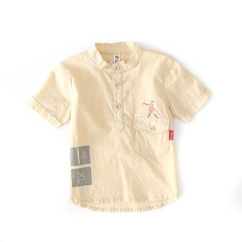 Musim panas model baru Anak laki-laki lengan pendek Baobao kemeja (Kuning pucat)
