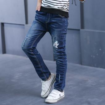 Musim Semi dan Gugur baru pinggang tinggi Slim celana musim gugur celana jeans (Biru)