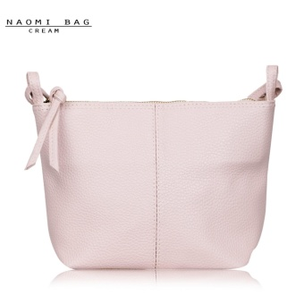 Naomi PU Leather Crossbody Bag Free Mini Pouch / Tas Selempang Wanita - Cream