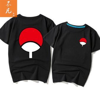 Naruto kayu Itachi Sasuke ayat yang sama lengan pendek kemeja t-shirt (Hitam)