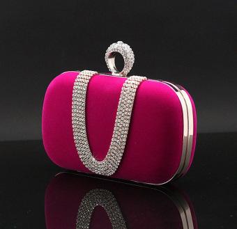 Baru 2016 Fashion Wanita Diamond U Bentuk Cincin Berlian Beludru Tas Malam Mewah Jari Clutch Dompet