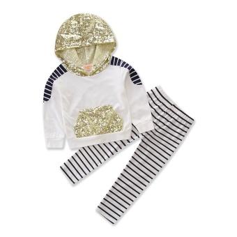 Baru Musim Gugur Bayi Gadis Pakaian Manik-manik Hoodie Atasan Kaus Katun Bergaris Celana 2