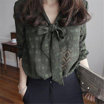 Baru Fashion Kasual Leher V Seksi Dalam Butterfly Longgar Lengan Panjang Sifon Blus Shirt Atas-