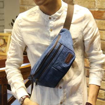 Baru Korea Tas Dada Menyilang Bahu Pria Tas Selempang Kanvas Jeans (biru )-International
