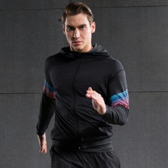 New Men Fashion him Kering Ringan lari Kerudung kardigan JaketSports Jaket  (hitam dan merah) 3fd84aaa1c
