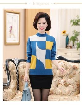 Baru Middle-Aged Wanita Musim Gugur dan Musim Dingin Pakaian Bottoming Kaus Kerah Bulat Sweter