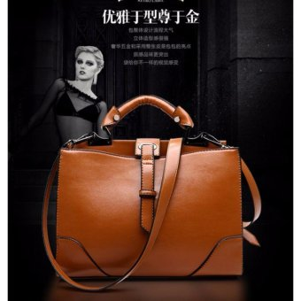 Baru Tas Wanita Tas Wanita Ladies Handbag Tas Kulit Asli Ladies Single Shoulder Bags Casual Tas Fashion Tas Boston Bags (Brown) -Intl