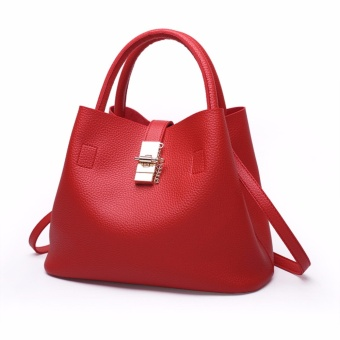 Baru Tas Wanita Tas Wanita Ladies Handbag Tas Kulit Asli Ladies Single Shoulder Bags Casual Tas Fashion Tas Boston Tas Merah-Intl