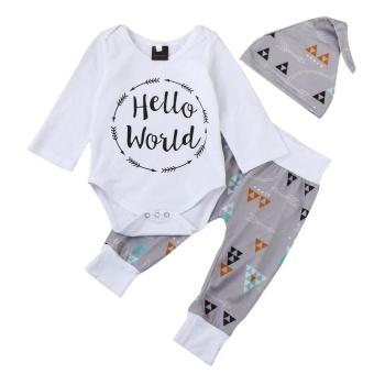 harga Bayi Yang Baru Lahir Baby Boy Huruf Baju Monyet Tops + Arrow Celana Hat Pakaian Pakaian Set-Intl Lazada.co.id