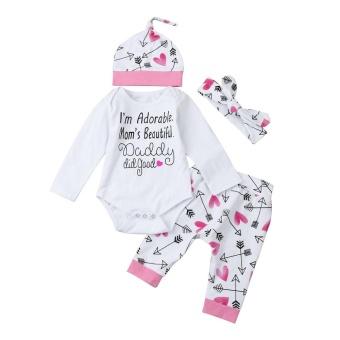 harga Bayi Yang Baru Lahir Baby Girl Huruf Baju Monyet Tops + Pola Hati Celana Hat Pakaian Set-Intl Lazada.co.id