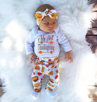harga Bayi Yang Baru Lahir Baby Girl Huruf Baju Monyet Tops + Celana 4 Pcs Thanksgiving Pakaian Set-Intl Lazada.co.id