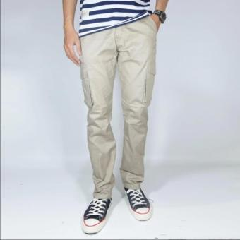 NHS Celana Cargo Panjang Slim Fit [Cream]