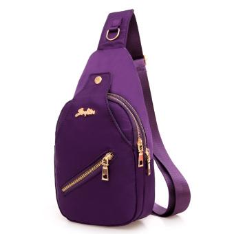 Nilon kain perempuan tas selempang tas dada (Ungu)