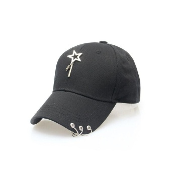 Ocean New Women Fashion Hats Five-pointed star Keep out the sun Sports Street Baseball Hat(Black) - intl