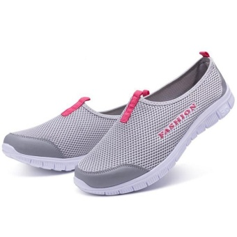 Ocean New Women Walking Shoes Sports Outdoors Casual Breathable Running shoes Cloth shoes(Light Grey) - intl